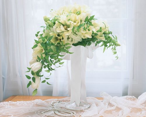 click to free download the wallpaper--Wedding Flowers Picture, White and Pure Flowers, White Curtain, Bright Future