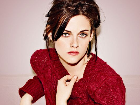 Well-Known for the Role in Adventureland, The Runaways and Twilight, in Red Skirt and Staring Right at You - HD Kristen Stewart Wallpaper