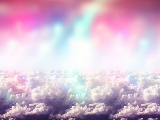 click to free download the wallpaper--Wide Wallpaper for Desktop - Colorful Clouds Over the Sky, Incredible Look