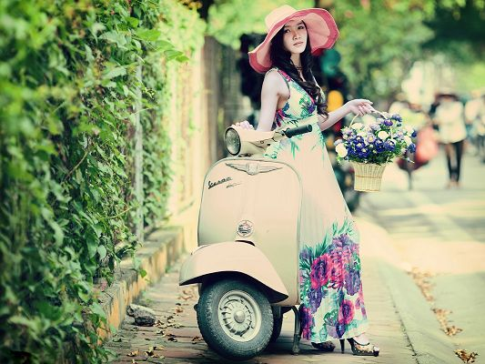 click to free download the wallpaper--Woman and Nature Image, a Beautiful Model with Spring Flowers, Proper Motorcar