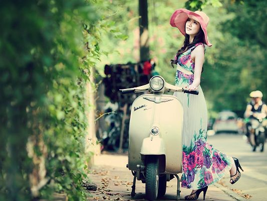 click to free download the wallpaper--Woman and Nature Wallpaper, Beautiful Asian Model in Long Dress, Spring Colors