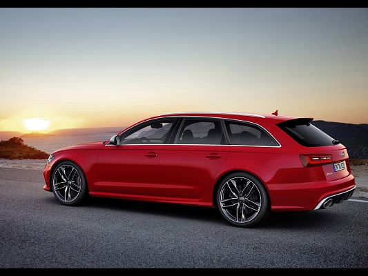 click to free download the wallpaper--World-Famous Cars Image of Audi RS6, the Red Car in Stop, the Rising Sun Faraway, an Amazing Scene