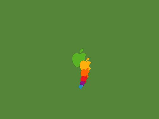 click to free download the wallpaper--World-Known Brand Logos, Apple Logo in Different Sizes, Green Background, is Easy to Apply