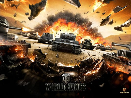 click to free download the wallpaper--World Of Tanks HD Post in 1600x1200 Pixel, an Exploding Scene, Tanks and Planes All Matching Forward, What an Incredible Scene! - TV & Movies Post