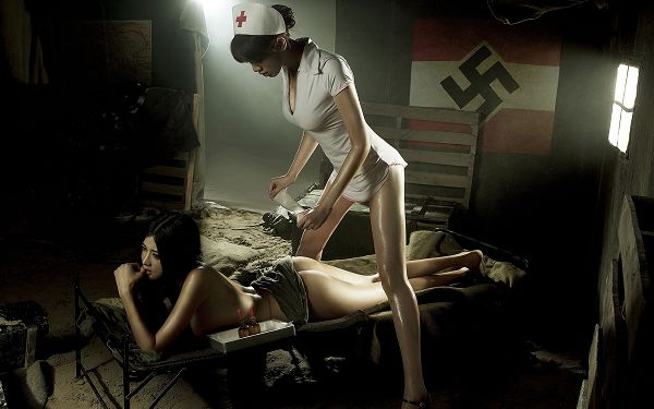 Wounded Girl Being Taken Care by Nurse, Both Are Hot and Appealing, War is Severe and Painful - HD Hot Girl Wallpaper