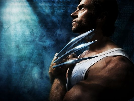 click to free download the wallpaper--XMEN Origins Wolverine Post in 1600x1200 Pixel, Man with Sharp Fingers, Light is Pouring on Him, Bound to Live Under Spotlight - TV & Movies Post