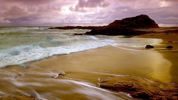 beautiful nature pictures - Beach Hit Repeatedly by the Sea Water, With Sands, It Must be Soft to Walk on