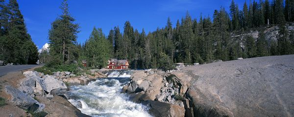 beautiful nature wallpaper - The River in Rapid Flow, a Red House in the Middle, Tall Trees Embracing