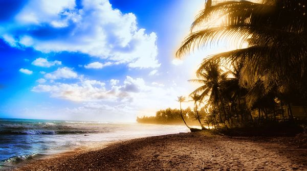 beautiful nature wallpaper - White Clouds Flowing in the Blue Sky, Ripples Hitting the Beach One by One, Beach Scene