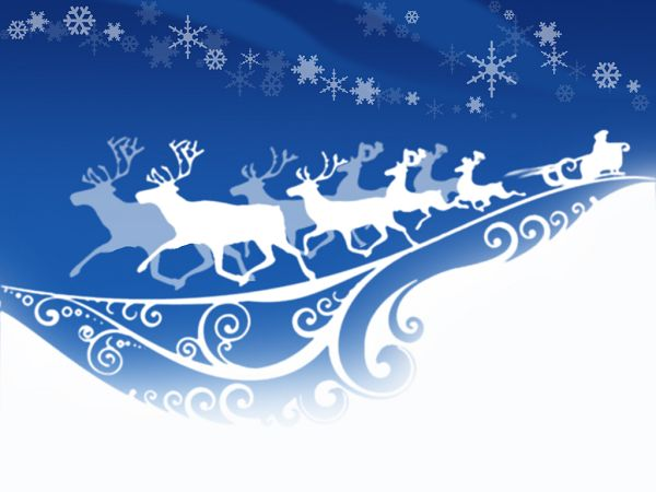 beautiful wallpaper: Santa Claus and reindeers ,click to download