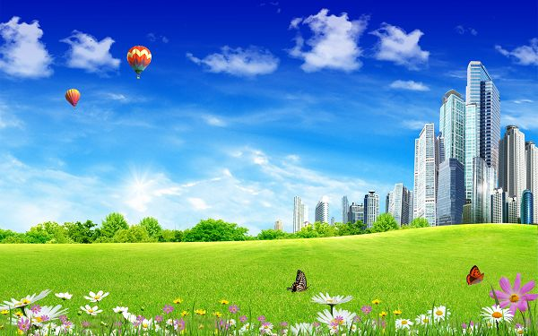 free scenery wallpaper of city life  ,click to download