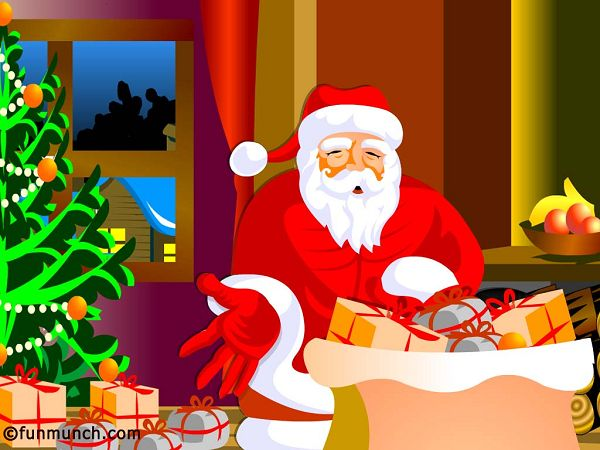 free wallpaper: Santa Claus is preparing gifts   ,click to download