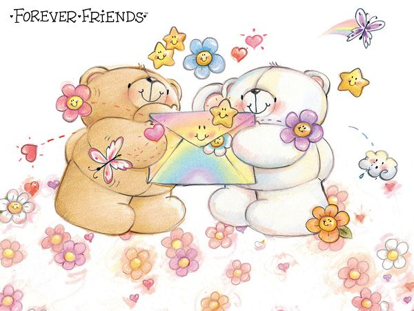 free wallpaper: lovely bears and their friends ,click to download