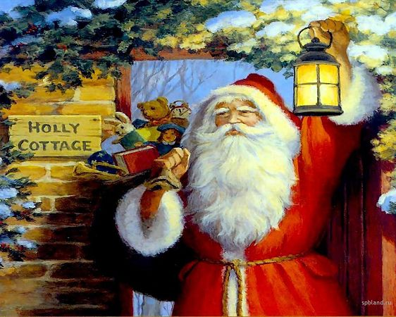 free wallpaper of Christmas: Santa Claus with various gifts ,click to download