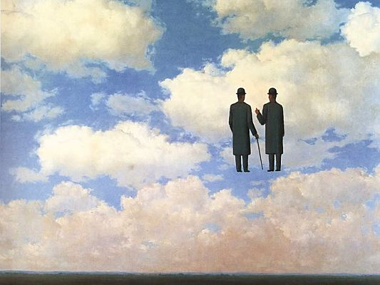 free wallpaper of an abstract painting-two men talking on the clouds,click to download