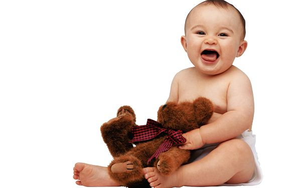 Free Wallpaper Of Baby: A Cute Baby Holding A Teddy Bear