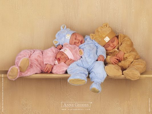 Free Wallpaper Of Baby-three Cute Sleeping Babies