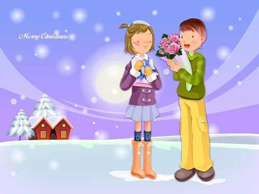free wallpaper of cartoon image-Christmas Gifts,click to download