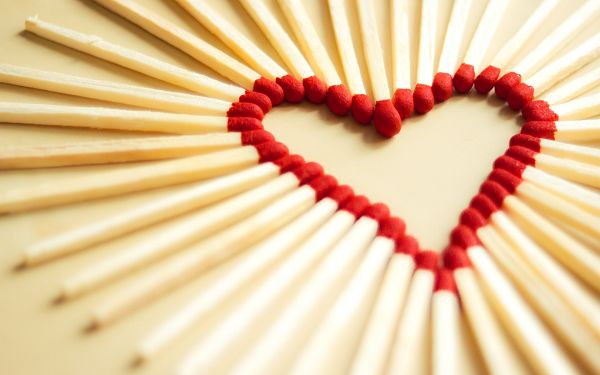 Free Wallpaper Of Heart Shape Created With Matchsticks