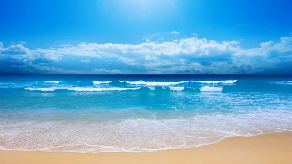 Free Wallpaper Of Natural Scenery-blue Sea