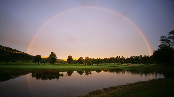 images of natural scenes - A Heavy Rain is Over, Rainbow is Showing up, the River is Back to Peace