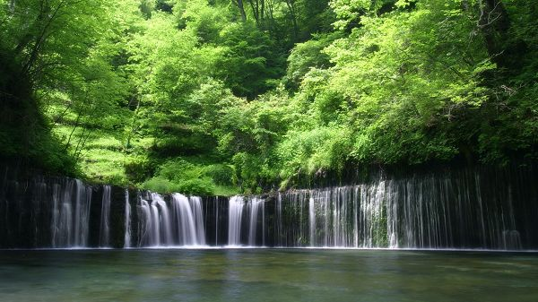 click to free download the wallpaper--landscape image - A Waterfall Producing Nonstop Clean Water, Good-Looking and Helpful