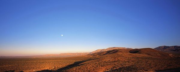 landscape photograph - The Yellow Earth Behind the Blue Sky, the Moon is Rising, It is Impressive