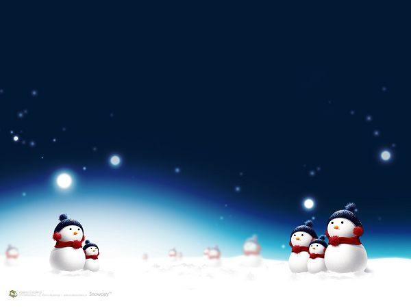 lovely wallpaper of snow man in the snow ,click to download