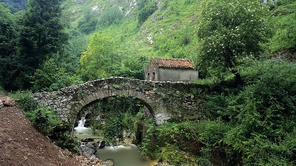 natural photos - The Stony House on a Bridge, Green Plants Make the Surrounding