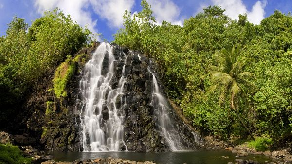 click to free download the wallpaper--natural scene photos - A Wide and Long Waterfall in the Middle of Green Plants, Under the Blue Sky