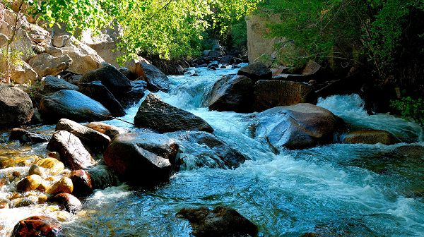 click to free download the wallpaper--nature images - River in Rapid Flow, Big Stones in the Middle, Brushed Quite Clean