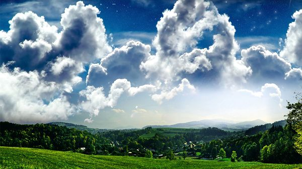click to free download the wallpaper--nature photos free download - White Clouds in Various Styles, Green Plants Beneath, What a Scene!