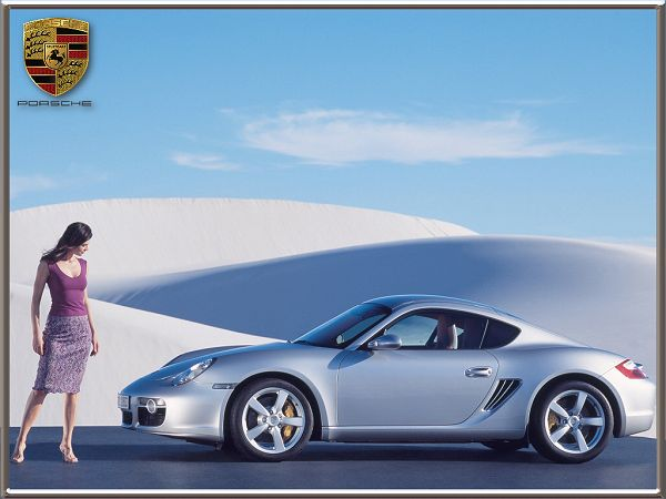 Nice Wallpaper For Free - A Slivery Porsche And A Beauty In Purple Dress