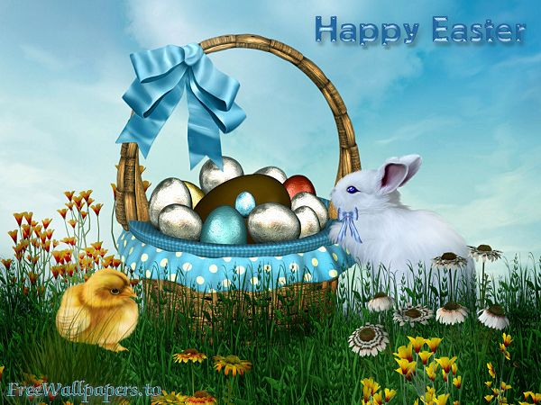 nice wallppaer of Easter in Egypt - colored eggs and baby animals  ,click to download