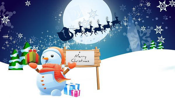 wallpaper of a lovely cartoon picture about Snowman in Christmas ,click to download