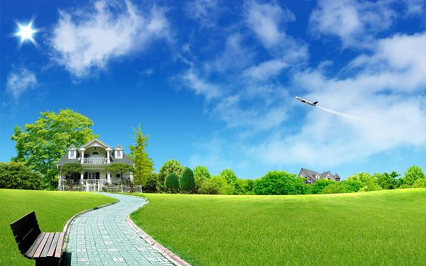wallpaper of a lovely house in the green grassland ,click to download