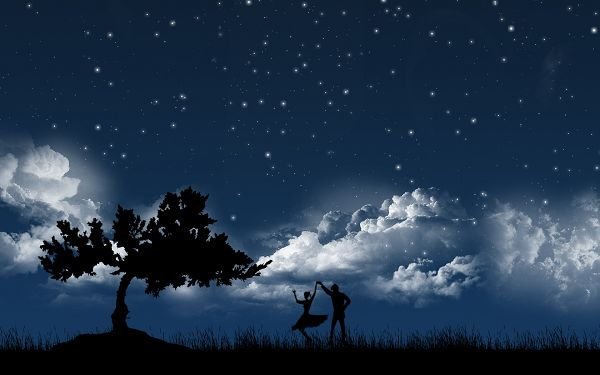 Wallpaper Of A Pair Of Lovers Dancing In Moonlight