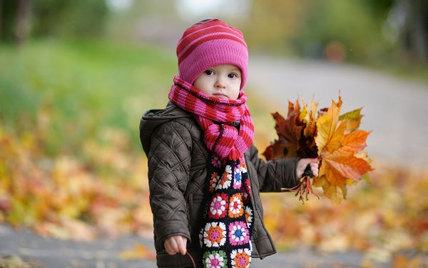 wallpaper of babies: a cute baby in autumn with yellow leaves ,click to download
