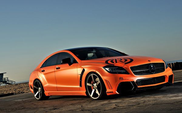 Wallpaper Of Car: A Orange Royal Benz On The Road