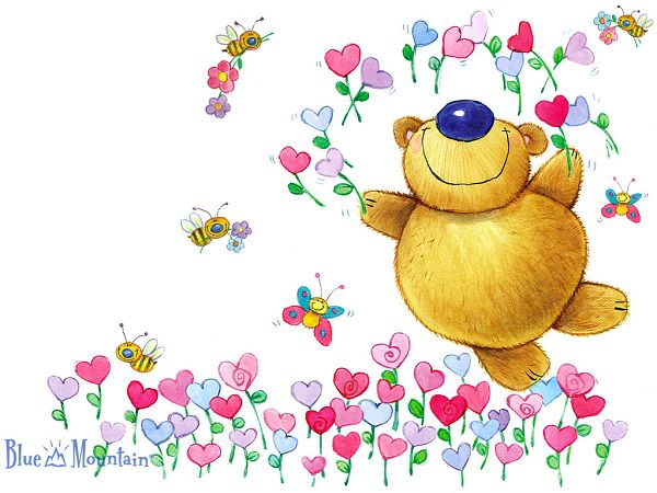 Wallpaper Of Lovely Bear In Flowers