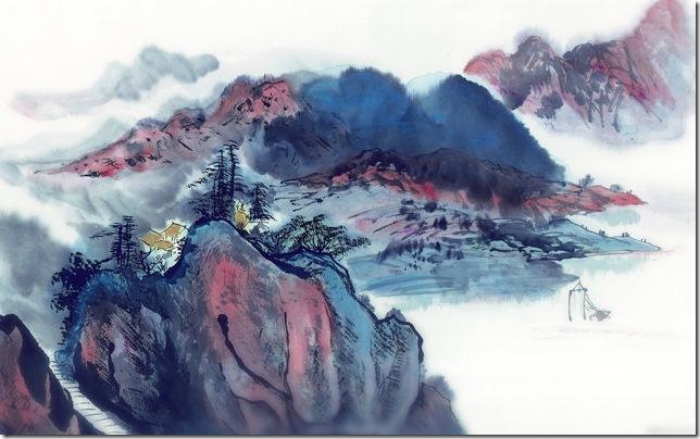 Wind around the clouds, Chinese traditional landscape painting Wallpaper
