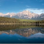 Free HD Natural Scenery Wallpaper: Lake Snow Mountain Forest and Snow Mountain reflects In Lake