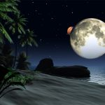 Free High Resolution 3d Scenery Computer Wallpaper Moon, Space And Ocean Are In The Night 1600*1200(6)