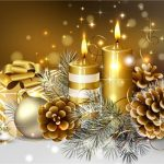 2016 Christmas Wallpaper Golden Candle and Tree with Snow (2)