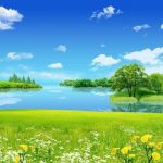 2017 HD Eye Vision Protection Scenery Wallpaper(2) White Cloud, Grass and Peace Lake