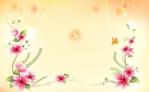 Red Flowers in Full Bloom, a Lovely Butterfly is Around, Setting is Light Orange, What a Wonderful World - Cartoon Flowers Wallpaper