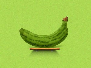 3D Computer Background, Green Banana on the Table, Ready to be Enjoyed!