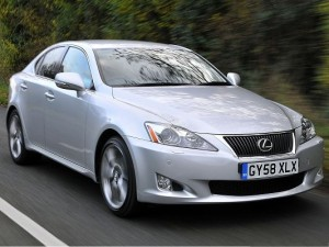 Lexus Cars as Background, Silver Car in Incredible Speed, Running Straight