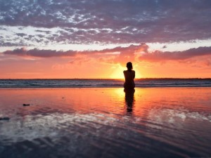 Girl in Nature, Woman Watching the Sunset, Like a Golden Statue