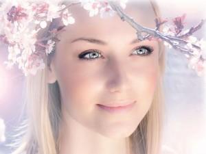 Beautiful Girls Portrait, Nice-Looking Girl Smelling Spring Flowers, Like Goddess